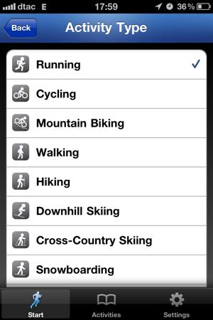 RunKeeper: Выбираем вид спорта