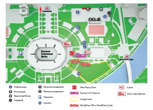 Карта расположения объектов на Run Moscow